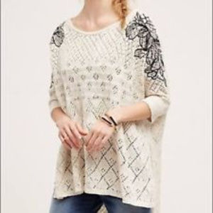 Anthropologie Ivory Knitted & Knotted Sweater xs N